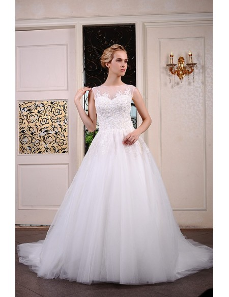 Ball-Gown Scoop Neck Chaple Train Tulle Wedding Dress With Appliquer Lace