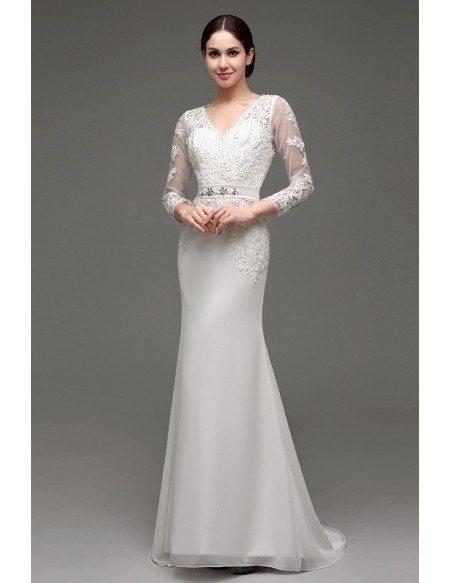 Mermaid V-neck Long-strap Floor-length Wedding Dress