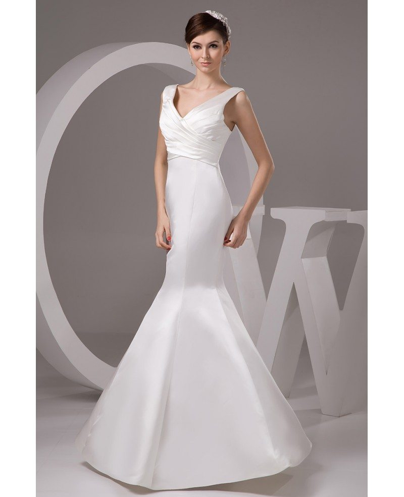 Mermaid v neck floor length satin wedding dress gemgrace for V neck satin wedding dress