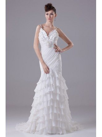 Gorgeous Spaghetti Straps Ruffled Cascading Wedding Dress with Sweetheart Neck