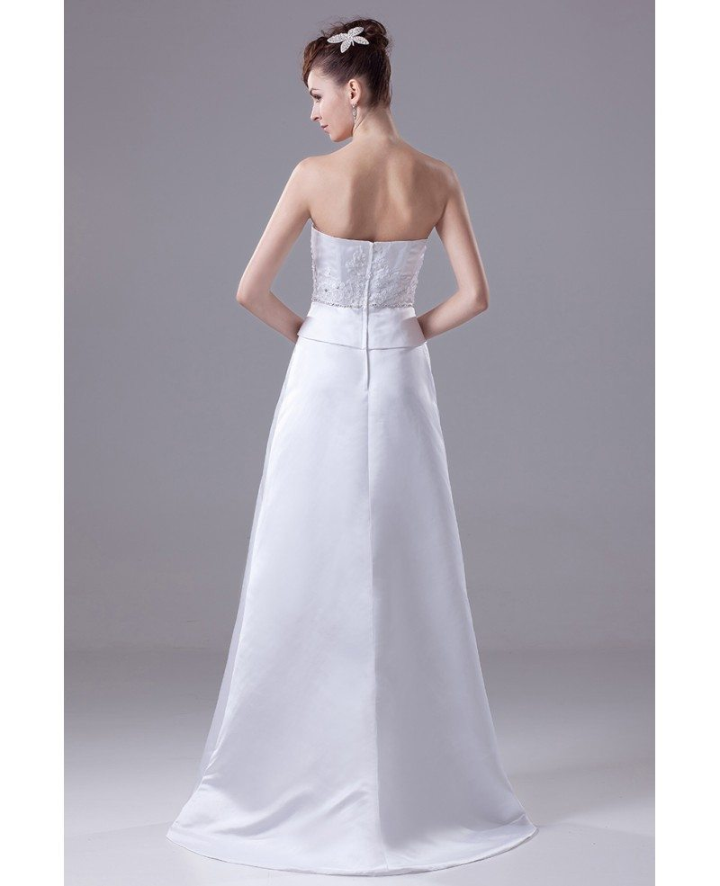 Fitted Folded Sweetheart Satin Wedding Dress With Beading