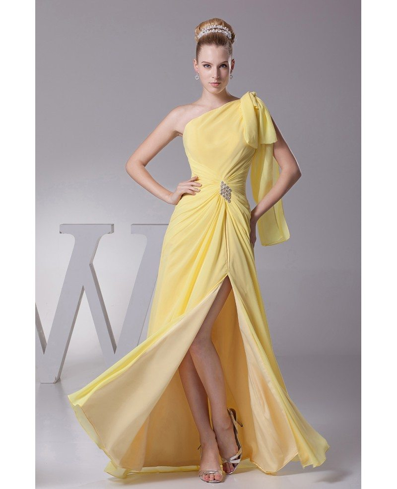 One Shoulder Sleeve Yellow Chiffon Long Prom Dress with Split Front ...