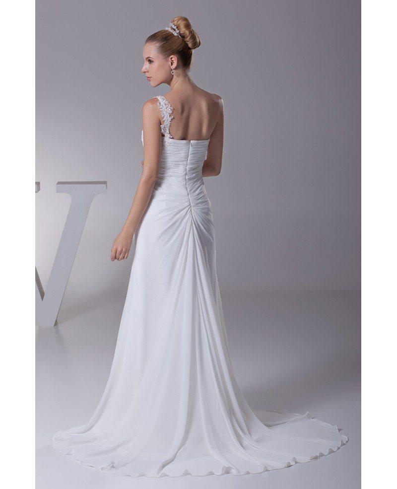 Elegant one shoulder pleated beaded lace wedding dress for Lace one shoulder wedding dress