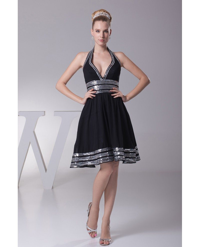 Black dress halter neck - Halter Neck Sweetheart Short Black Formal Dress With White Sequins Hem
