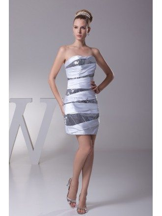 Sequined Short Strapless Satin Bridesmaid Dress In White and Silver Color