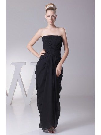 Simple Black Strapless Folded Chiffon Bridesmaid Dress in Floor Length