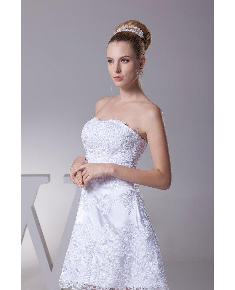 Strapless short wedding dresses lace beach style with for Short beach style wedding dresses