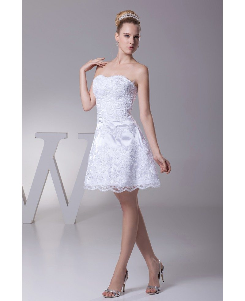 Strapless short wedding dresses lace beach style with for Cocktail dress for beach wedding
