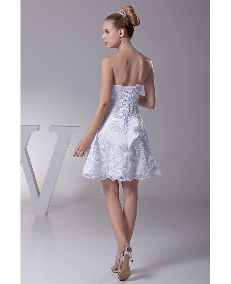 Cocktail Wedding Gown: Strapless Short Wedding Dresses Lace Beach Style With