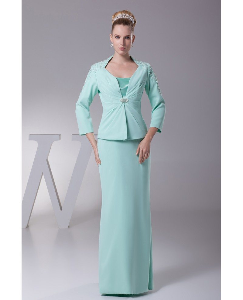 Long Jacket Chiffon Lace Teal Mother of the Groom Dress In Three ...