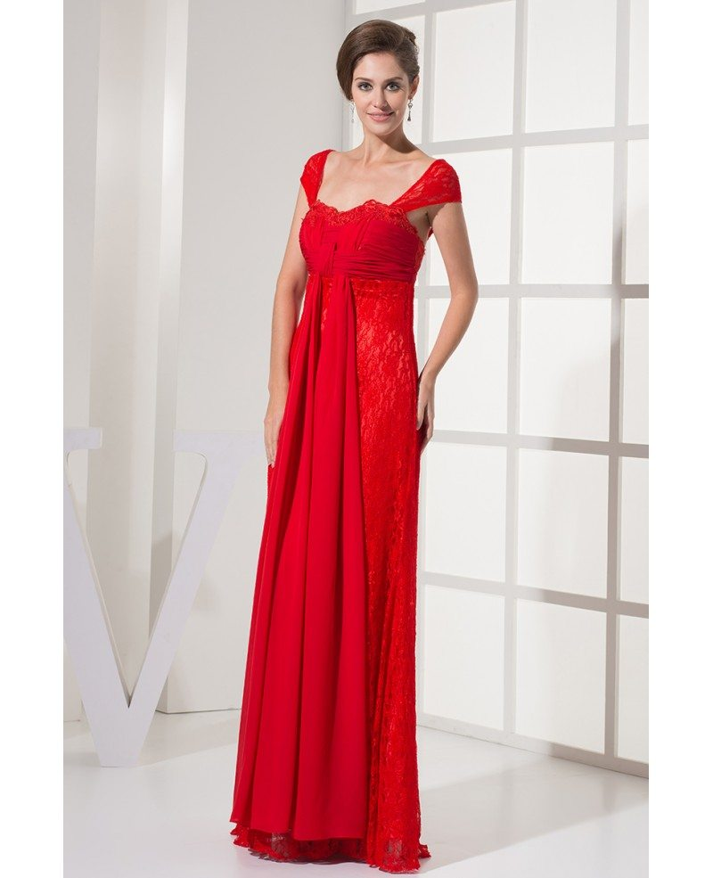 Red Lace Wedding Dress: Cap Sleeves All Lace Hot Red Long Wedding Dress With
