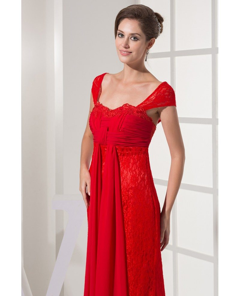 Cap Sleeves All Lace Hot Red Long Wedding Dress with ...