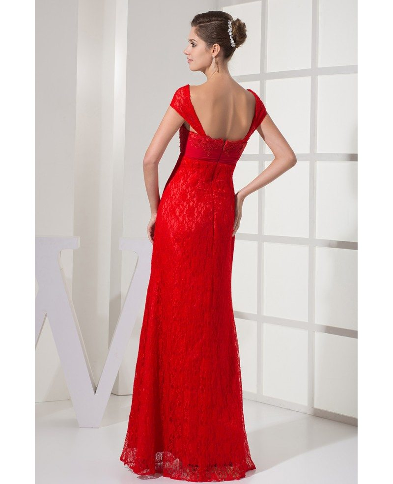 Cap Sleeves All Lace Hot Red Long Wedding Dress With