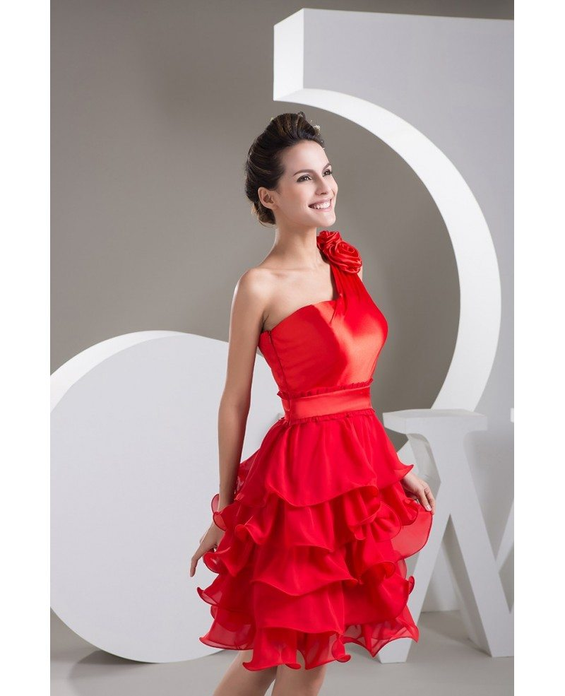 Hot Red A-line One-shoulder Short Chiffon Prom Dress With ...