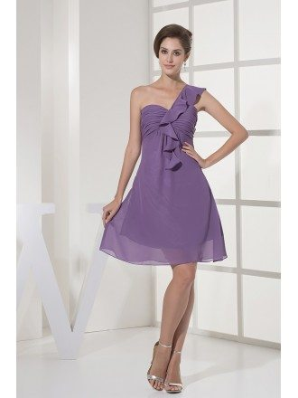 Simple Pleated Short Lavender Chiffon Bridesmaid Dress in One Shoulder