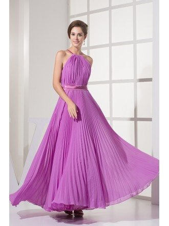 Gorgeous Pleated Long Halter Bridal Party Dress in Floor Length