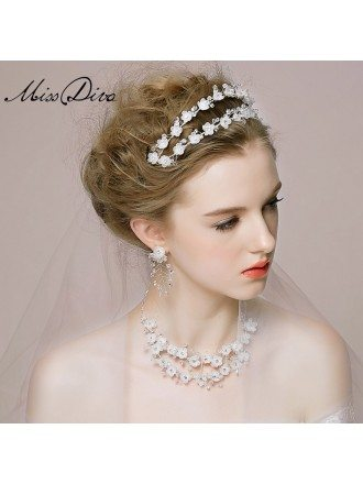 Double Row Crystal Floral Tiaras Style