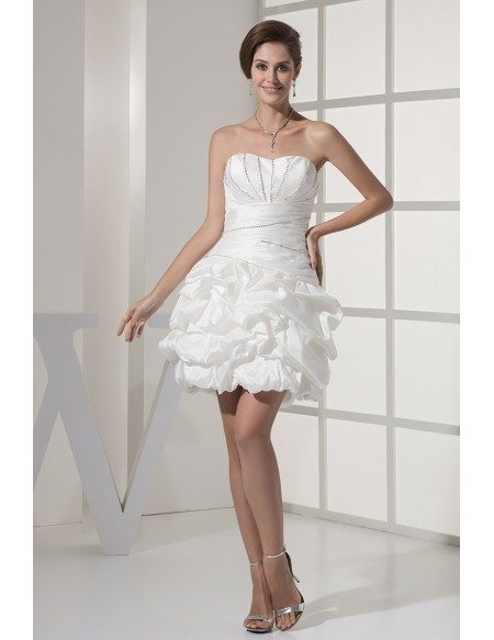 Reception Short Wedding Dresses Strapless Simple Beaded Taffeta ...