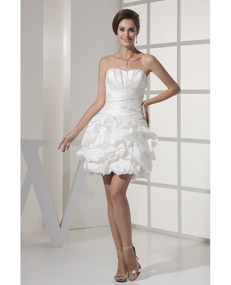 Reception Short Wedding Dresses Strapless Simple Beaded