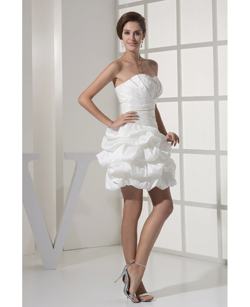 Reception Short Wedding Dresses Strapless Simple Beaded