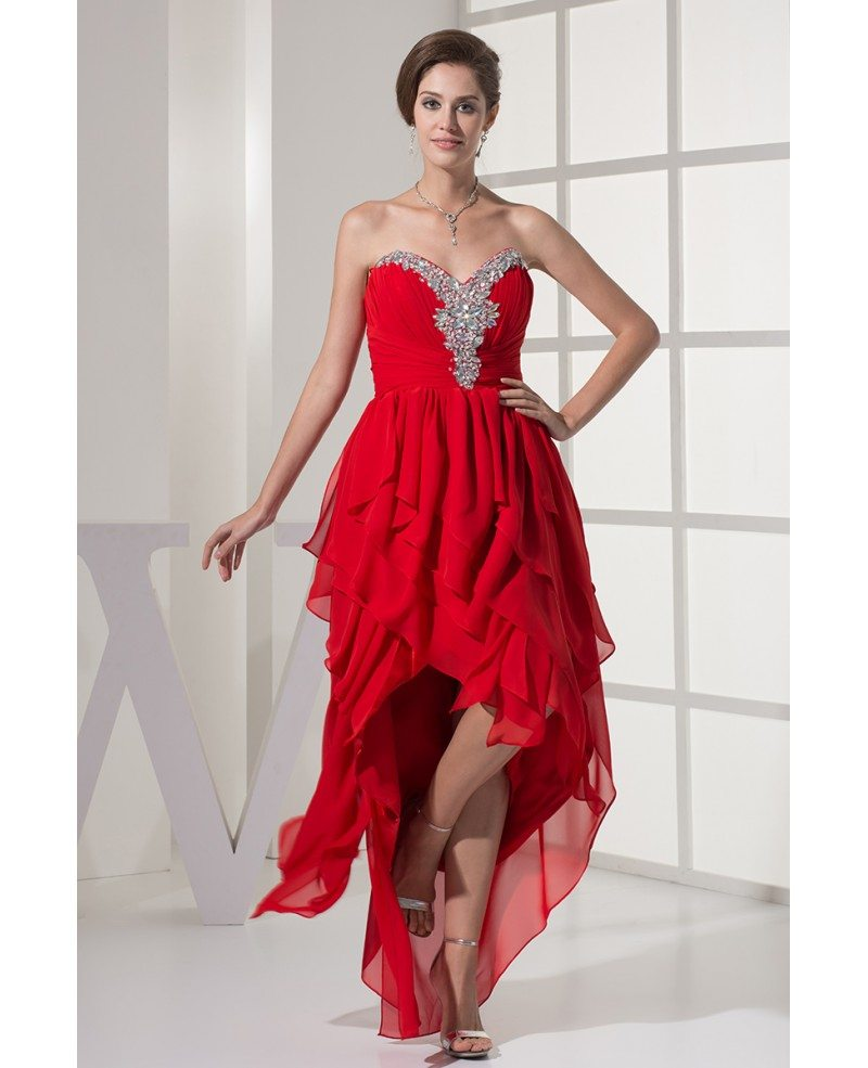 Layered High Low Red Chiffon Folded Prom Dress with Beaded ...