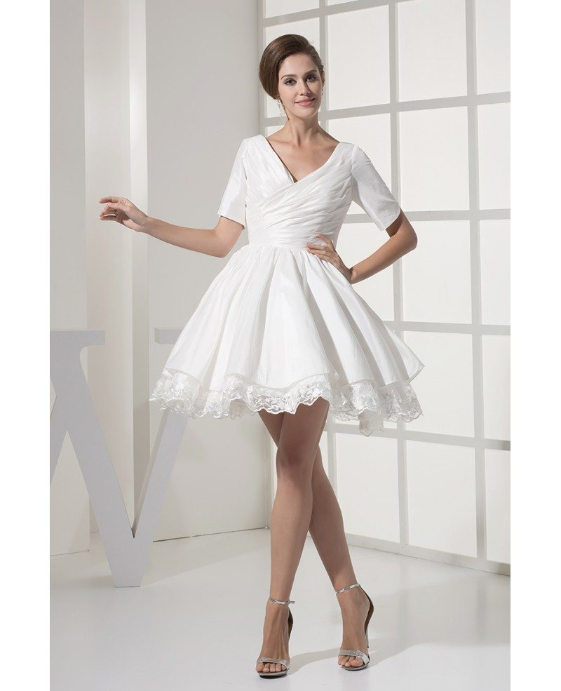 Modest Short Wedding Dresses With Sleeves For Older Bride