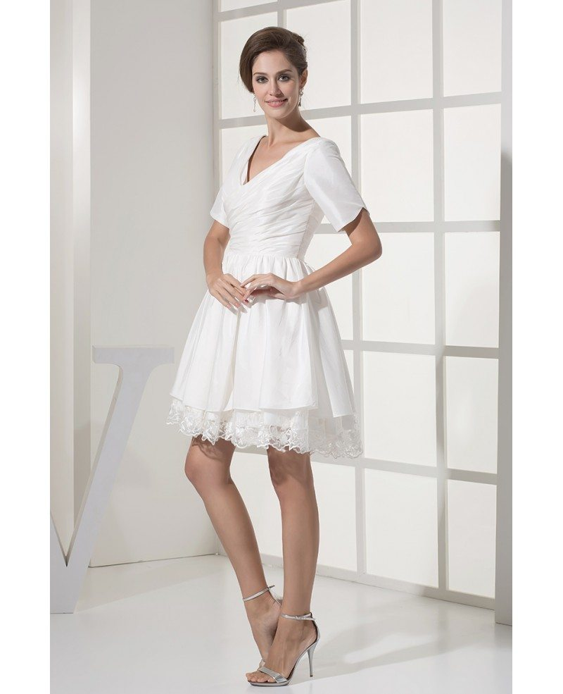 Wedding Gowns For The Mature Bride: Modest Short Wedding Dresses With Sleeves For Older Bride