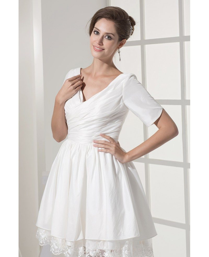 Modest short wedding dresses with sleeves for older bride for Short sweetheart wedding dress