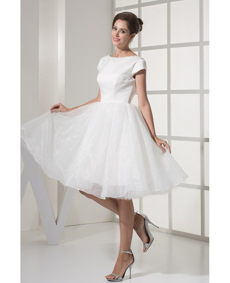 Fun short wedding dresses tulle with sleeves modest ballroom style simple modest ballroom short sleeved white wedding gown in satin and organza junglespirit