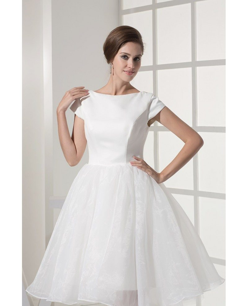 Short Sleeve Simple Wedding Dress: Fun Short Wedding Dresses Tulle With Sleeves Modest