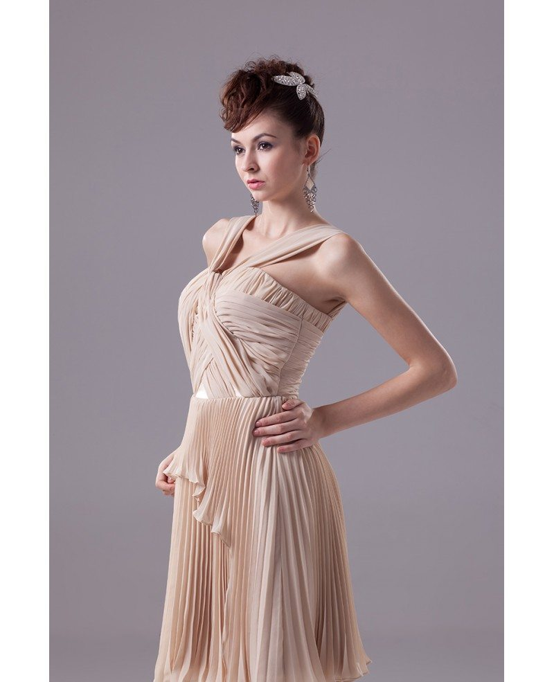 Unique Pleated Chiffon Short Champagne Formal Dress with Halter ...