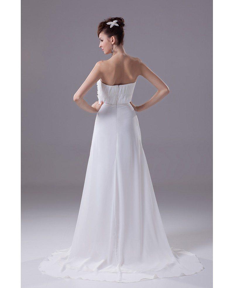 Elegant Long Slim Beach Strapless Wedding Dress with ...