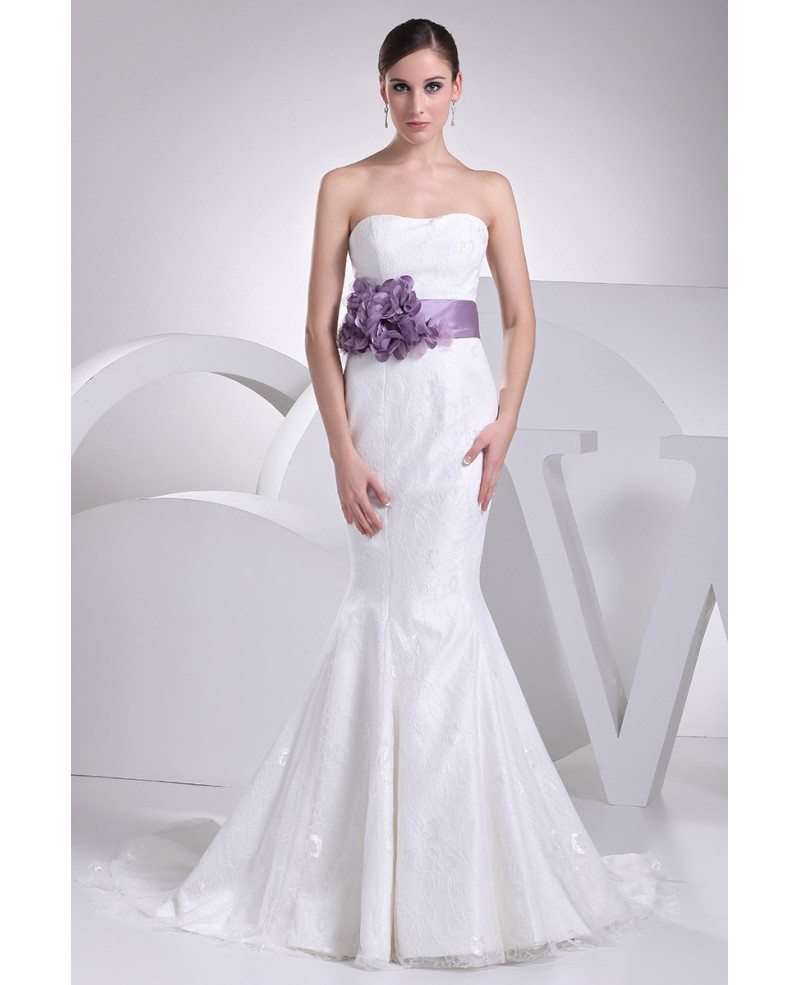 Wedding White Dresses: Strapless Mermaid All Lace White Wedding Dress With Purple