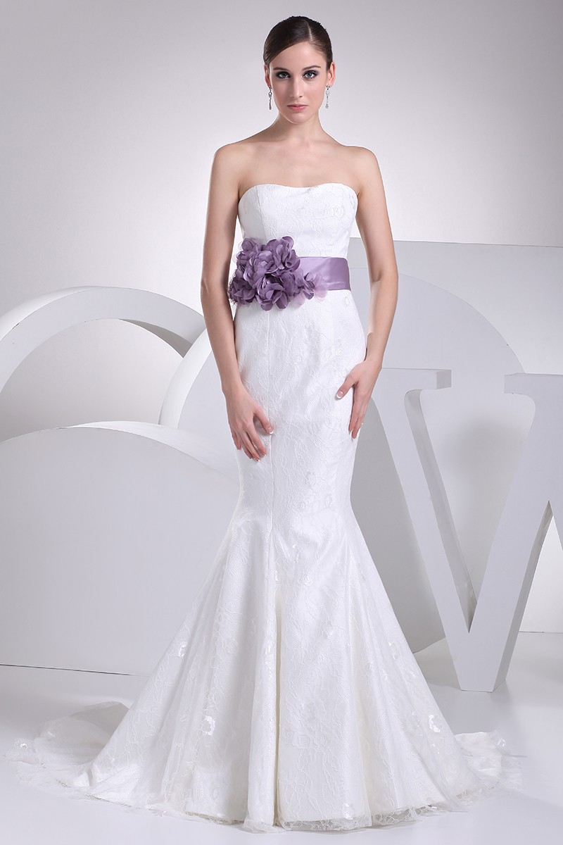 sleeveless wedding dresses strapless mermaid all lace white wedding dress with purple 7546