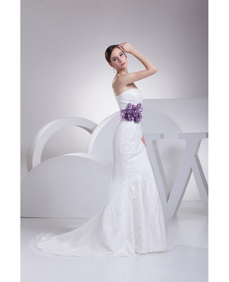 Strapless mermaid all lace white wedding dress with purple for Wedding dresses with purple trim