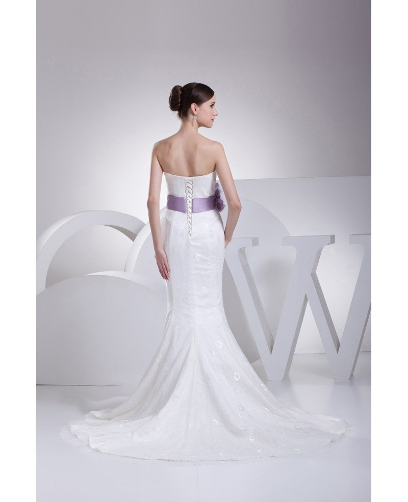 All Lace Wedding Gowns: Strapless Mermaid All Lace White Wedding Dress With Purple