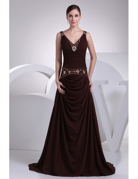 Grace Love Sweetheart Neck Long Chiffon Chocolate Wedding Dress With Crystals And Beading