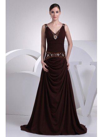 Sweetheart Neck Long Chiffon Chocolate Wedding Dress with Crystals and Beading