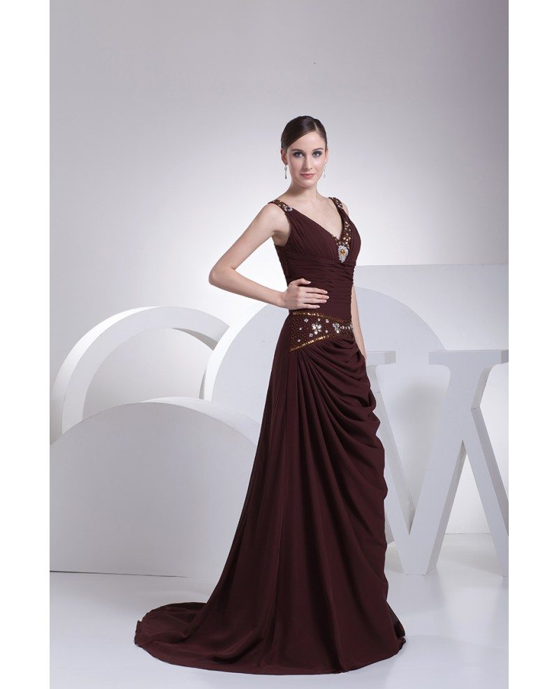 Sweetheart Neck Long Chiffon Chocolate Wedding Dress With