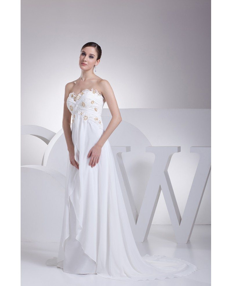 Strapless Lace Beaded Chiffon White Wedding Dress With