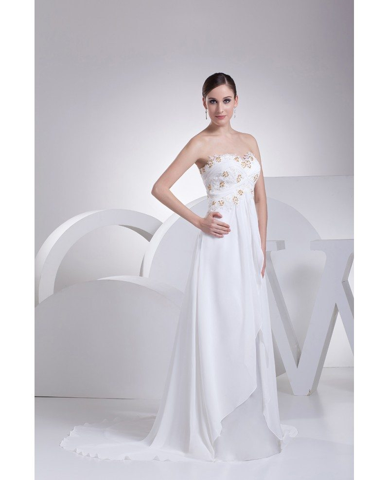 Wedding White Dress: Strapless Lace Beaded Chiffon White Wedding Dress With
