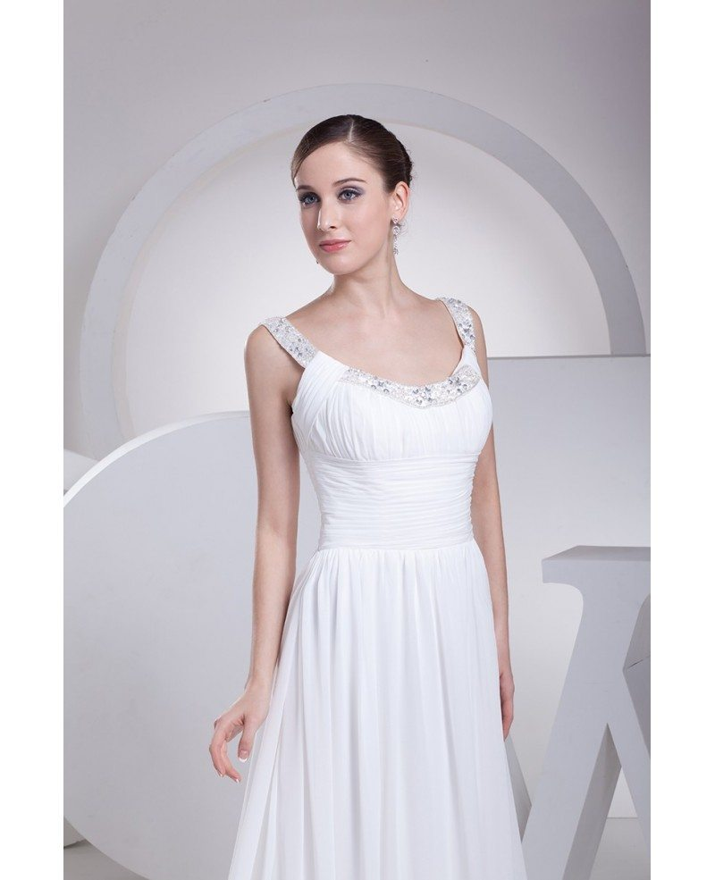 Flowing Wedding Gown: Flowing Chiffon Train White Folded Bridal Dress With