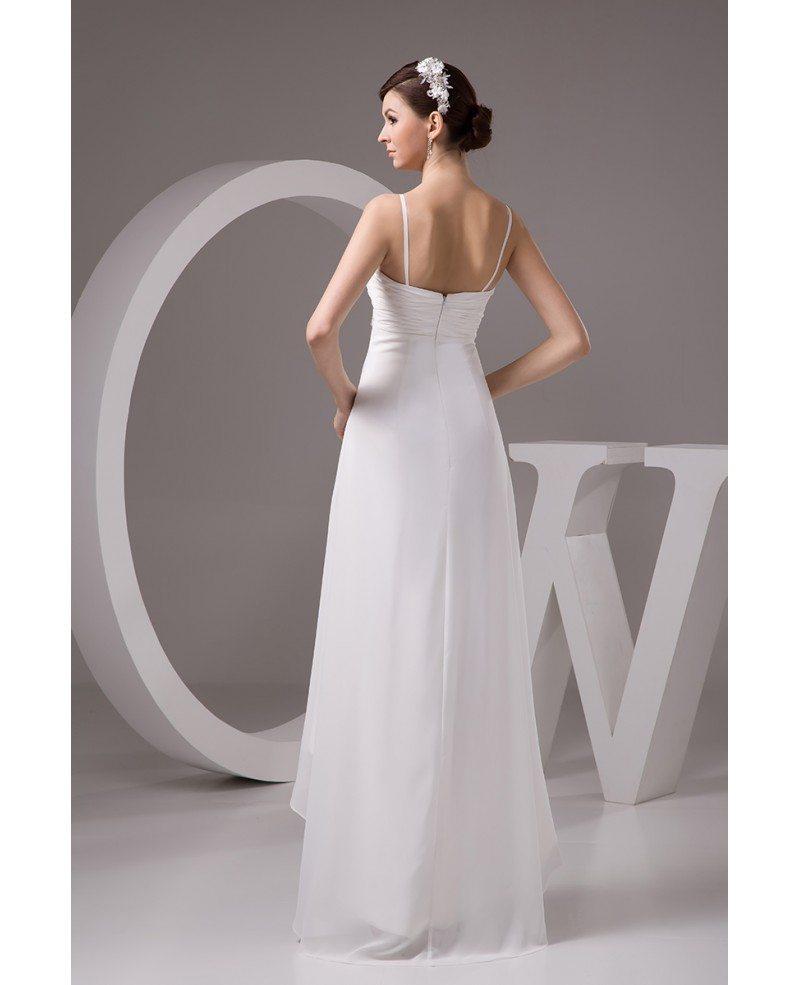 A line sweetheart asymmetrical chiffon wedding dress with for Chiffon sweetheart wedding dress