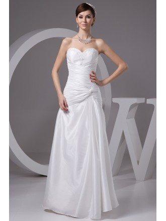 Sheath Sweetheart Floor-length Satin Wedding Dress With Beading
