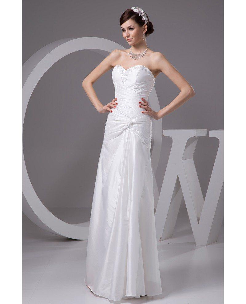 Sheath Sweetheart Floor Length Satin Wedding Dress With Beading OP4895 1652