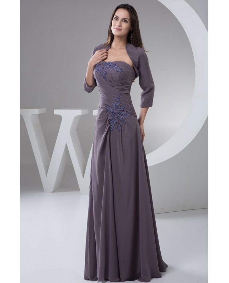 Mother Of The Bride Dresses: Fall Mother Of The Bride Dresses With Jacket Long Chiffon