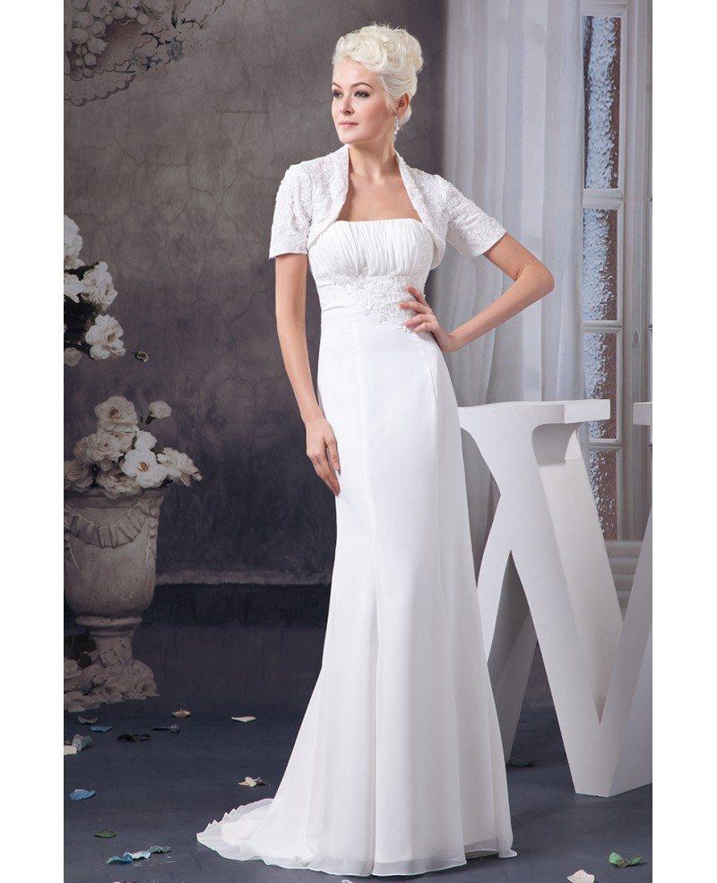 Chiffon Dressing Gown: Sheath Strapless Sweep Train Chiffon Wedding Dress With