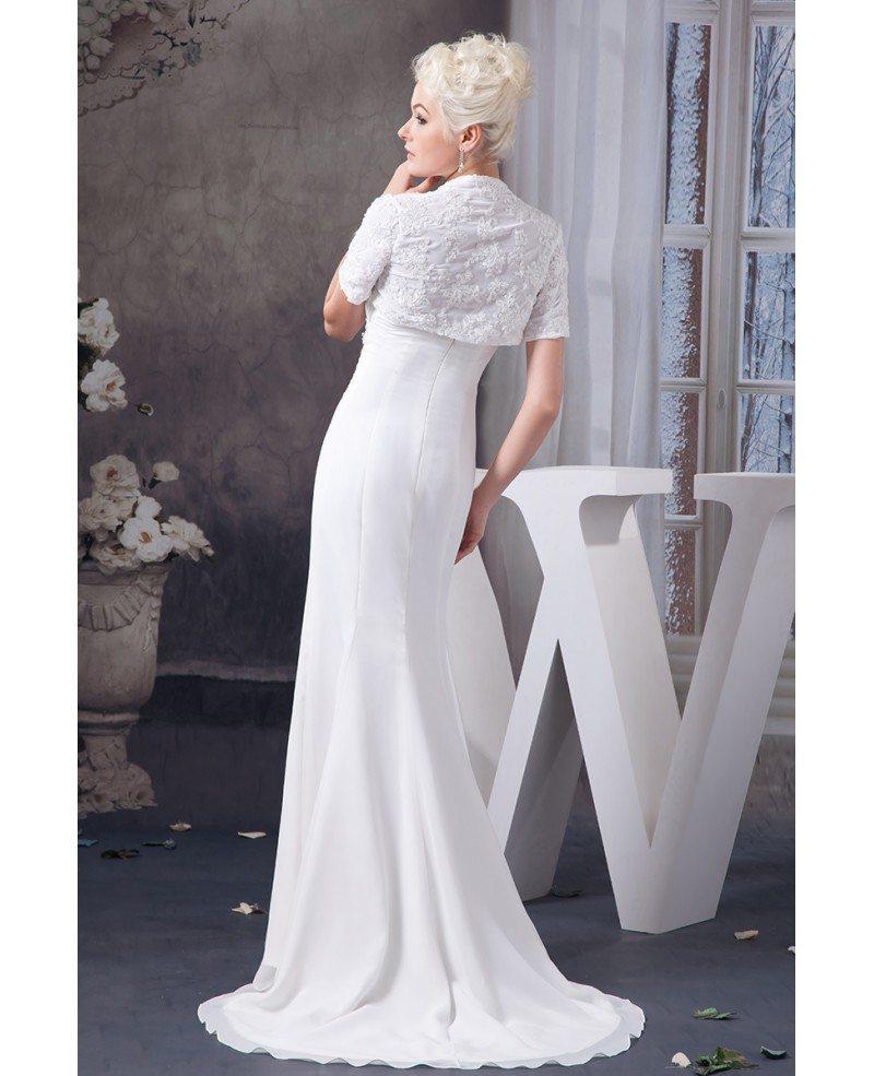 Sheath Strapless Sweep Train Chiffon Wedding Dress With