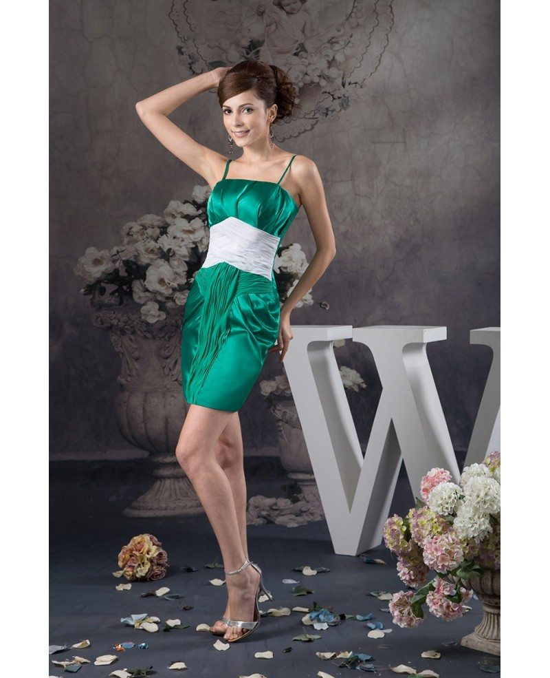 green and white short tight satin cocktail dress with spaghetti straps  op4971  103 4