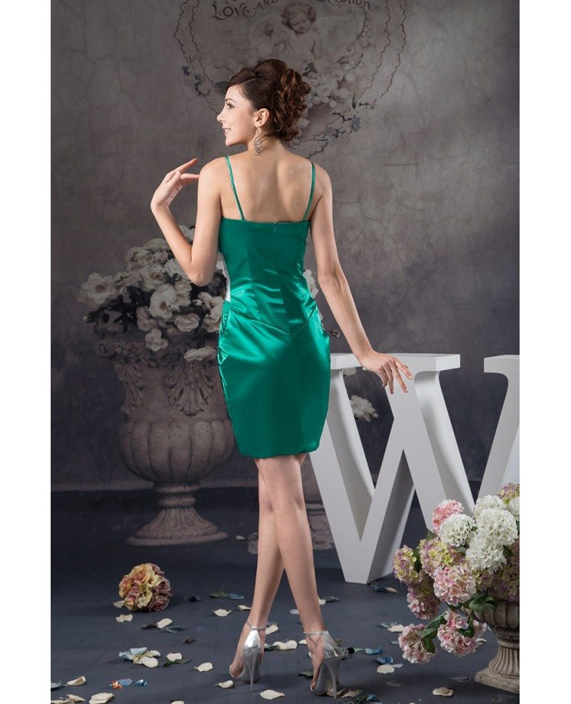 Green And White Short Tight Satin Cocktail Dress With